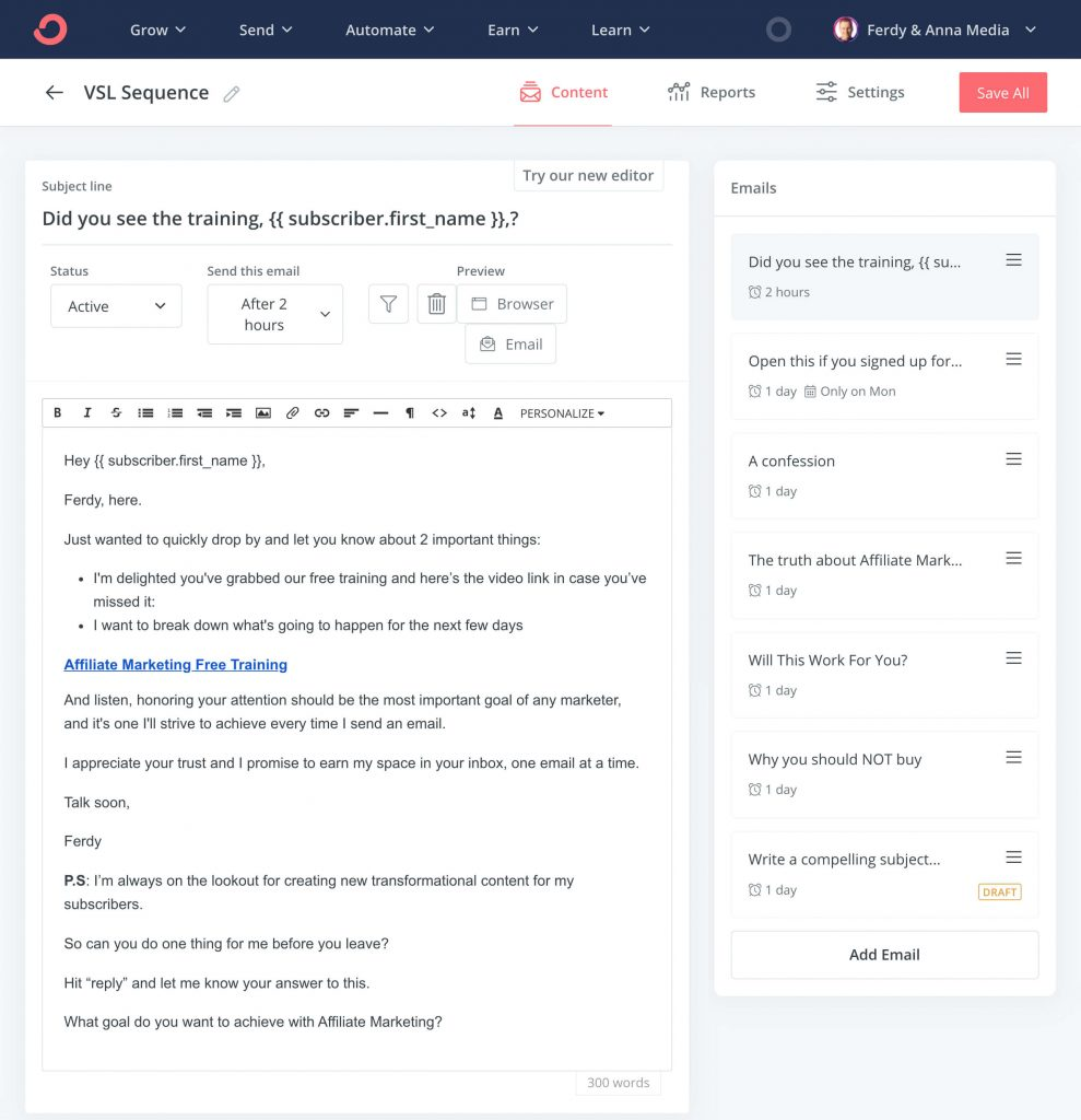 Convertkit Email Sequence